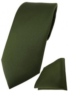 TigerTie Designer Krawatte + TigerTie Einstecktuch in olivegrün einfarbig uni