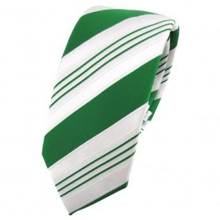 schmale TigerTie Satin Krawatte grün smaragdgrün weiß silber gestreift - Binder