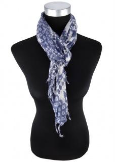 Halstuch in taubenblau grau gemustert mit Fransen - Tuchgröße 90 x 90 cm