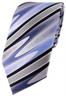 TigerTie Designer Krawatte in blau schwarz silber grau gestreift - Tie Binder