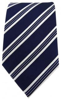 TigerTie Designer Seidenkrawatte dunkelblau blau weiss gestreift -Krawatte Seide - Vorschau 2
