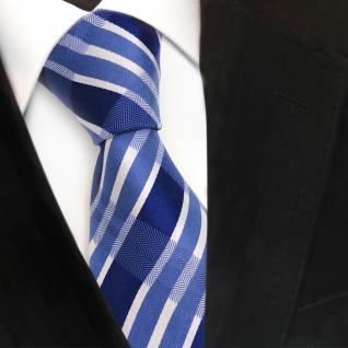 Designer Seidenkrawatte blau signalblau silber gestreift - Krawatte Seide Tie - Vorschau 3