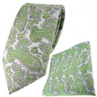 TigerTie Designer Krawatte + Einstecktuch in grün silber Paisley gemustert