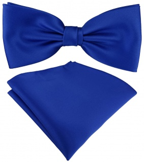 TigerTie Satin Fliege + TigerTie Einstecktuch in royal Uni Einfarbig + Box