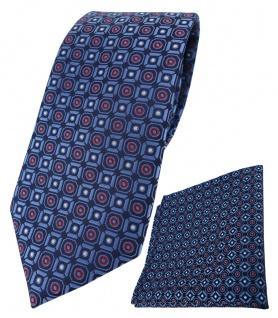 TigerTie Krawatte + Einstecktuch in marine blau silber rot schwarz gemustert