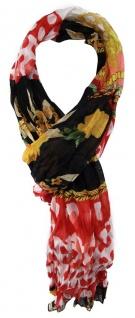TigerTie Chiffon Schal in rot schwarz gelb weiß gemustert - Gr. 180 x 50 cm