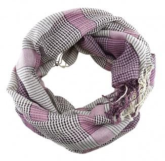 Schal in lila violett rosa beige kariert mit Fransen - Gr. 180 x 50 cm