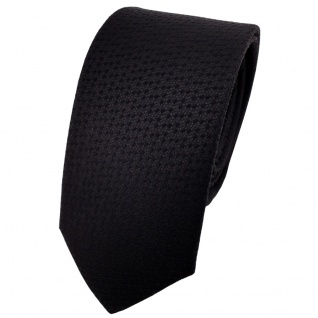 schmale TigerTie Designer Krawatte uni schwarz gepunktet - Binder Tie
