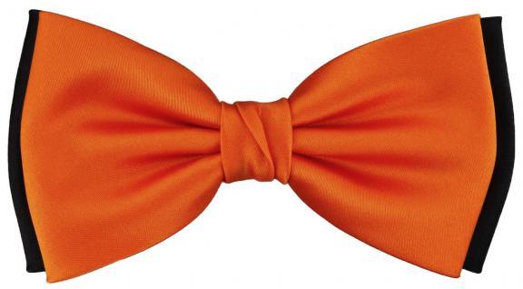 vorgebundene doppelfarbige TigerTie Satin Fliege in orange schwarz Uni + Box