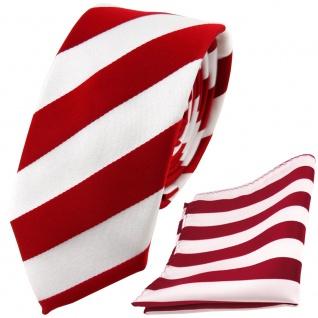 schmale TigerTie Krawatte + Einstecktuch in rot signalrot weiss gestreift