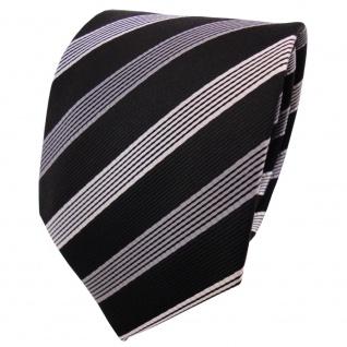 TigerTie Designer Seidenkrawatte schwarz anthrazit silber gestreift