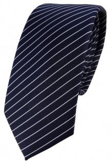 schmale TigerTie Designer Krawatte in blau dunkelblau silber gestreift