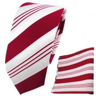 Schmale TigerTie Designer Krawatte+Einstecktuch rotsignalrot weißsilbergestreift