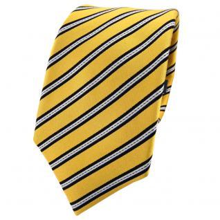 Enrico Sarto Seidenkrawatte gelb gold schwarz silber gestreift - Krawatte Seide