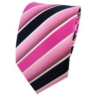 TigerTie Designer Krawatte pink rosa dunkelblau weiß gestreift - Binder Tie