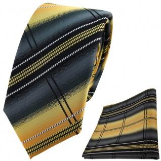 schmale TigerTie Krawatte + Einstecktuch gold anthrazit silber schwarz gestreift
