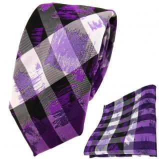 schmale TigerTie Krawatte + Einstecktuch lila flieder silber schwarz gestreift