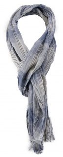 gecrashter TigerTie Schal in blau grau weiß gemustert mit kleinen Fransen