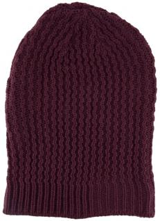 Strickmütze in violett bordeaux Uni - Wintermütze ca. Höhe 30 cm x Breite 22 cm