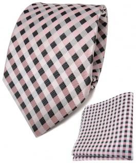 TigerTie Seidenkrawatte + Seideneinstecktuch in rosa anthrazit weiß kariert