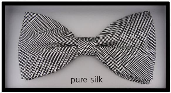 TigerTie Seidenfliege grau silber schwarz kariert - Stoffmuster Prince of Wales - Vorschau 2
