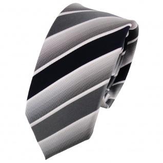 Schmale TigerTie Designer Krawatte blau dunkelblau grau weiß gestreift - Binder