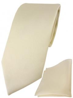 TigerTie Designer Krawatte + TigerTie Einstecktuch in beige einfarbig uni
