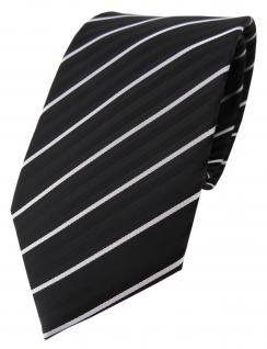 TigerTie Designer Krawatte schwarz silber grau gestreift - Schlips Binder Tie