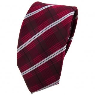 Schmale TigerTie Krawatte in rot weinrot grau schwarz gestreift - Schlips Binder