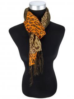 Halstuch in orange dunkelbraun braun Glitzerfaden gemustert mit langen Fransen