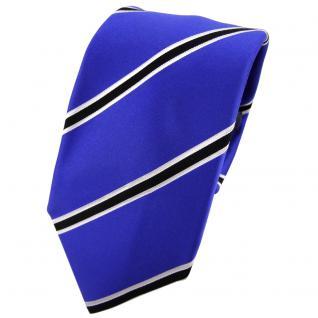Enrico Sarto Seidenkrawatte blau schwarz weiß gestreift - Krawatte Seide Tie