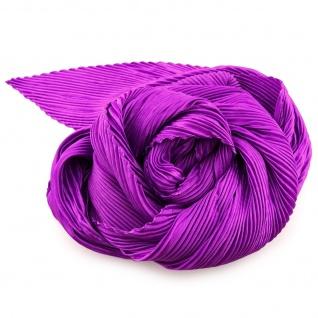Damen Satin Raffschal dehnbar lila flieder ca. 80 x 70 cm - Tuch Halstuch Schal