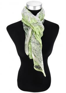 Halstuch in grün hellgrün beige geblümt gemustert - Tuch Gr. 100 x 100 cm