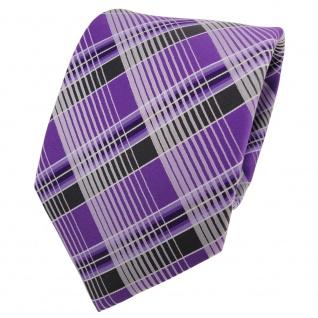 Designer Krawatte lila violett anthrazit silber kariert - Schlips Binder Tie