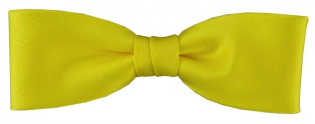 vorgebundete schmale TigerTie Fliege in gelb Uni einfarbig + Box