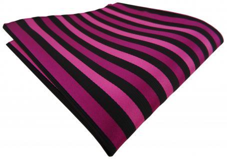 Einstecktuch in magenta lila schwarz gestreift - Tuch Polyester Gr. 25 x 25 cm