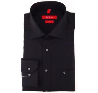 Ben Green Herrenhemd schwarz Uni langarm bügelfrei - New-Kent-Kragen Hemd Gr.44