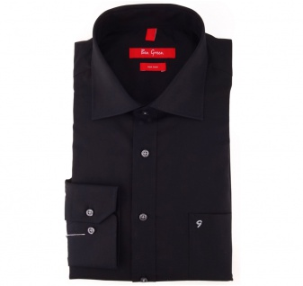 Ben Green Herrenhemd schwarz Uni langarm bügelfrei - New-Kent-Kragen Hemd Gr.48
