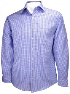 Ben Green Hemd in blau weiss kariert langarm bügelfrei - Kent-Kragen Hemd Gr. 46