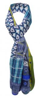 Viskose Schal in blau grün türkis weiß gemustert - Gr. 180 x 70 cm - Halstuch