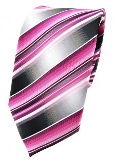 TigerTie Seidenkrawatte rosa pink magenta grau silber gestreift - Krawatte Seide