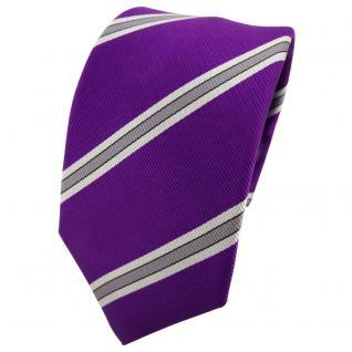 Enrico Sarto Seidenkrawatte lila violett silber grau gestreift - Krawatte Seide