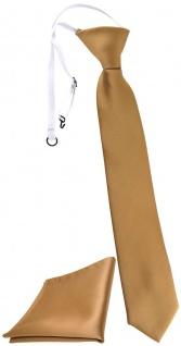 TigerTie Kinderkrawatte + Einstecktuch in gold Uni - vorgebunden mit Gummizug