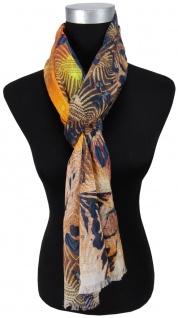 Schal braun beige blau schwarz grau orange gelb rot gemustert - Gr.180 x 70 cm