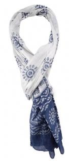 TigerTie Schal in blau weiß gemustert - Gr. 180 x 50 cm - 100% Baumwolle