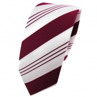 Schmale TigerTie Designer Krawatte rot purpurrot weiß silber gestreift