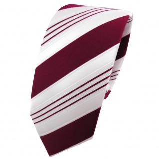 schmale TigerTie Satin Krawatte rot purpurrot weiß silber gestreift - Binder Tie