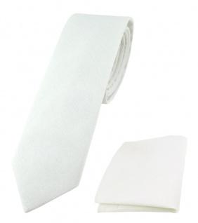 TigerTie - schmale Krawatte + Einstecktuch aus 100% Baumwolle in weiß einfarbig