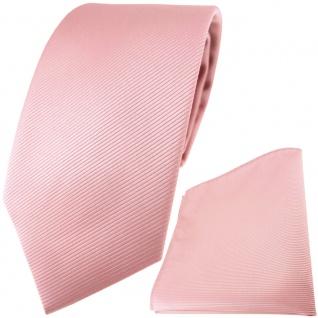 TigerTie Designer Krawatte + Einstecktuch in rosa altrosa einfarbig uni Rips