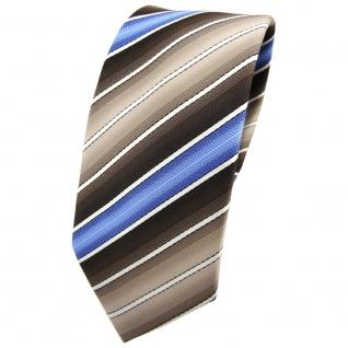 Schmale TigerTie Krawatte braun beigebraun blau creme gestreift - Binder Tie